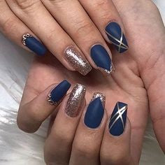 Blue and Gold Nail Designs
