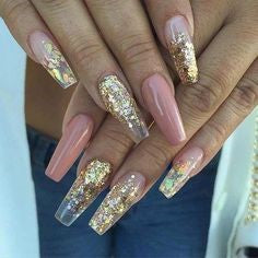 Coffin Gold Nail Designs
