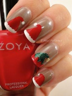 Santa Hat Christmas Nail Design