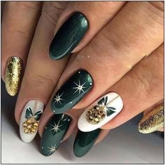 Green Metallic Christmas Nail Design