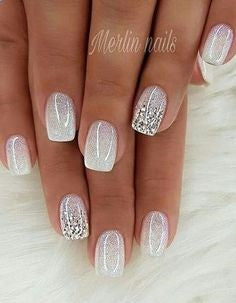 White Sequins Toe Nail Designs