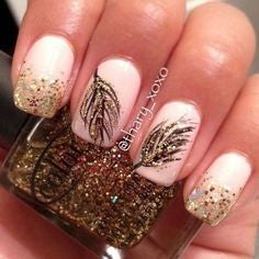 Golden Feather Nail Designs