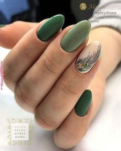 Green Feather Nail Designs