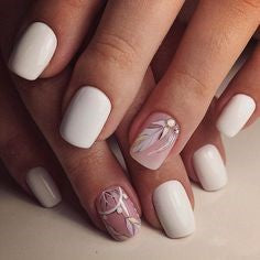 White Feather Short Nail Designs