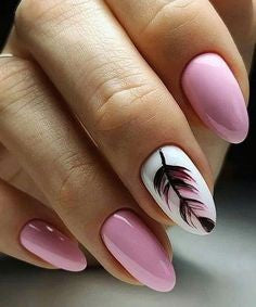 Pink Feather Nail Designs