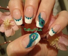 French Peacock Feather Nail Designs