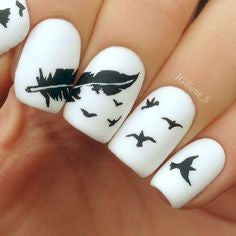 Black and White Feather Nail Designs