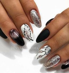 Matte and Glitter Feather Nail Designs