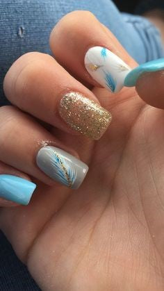 Blue Feather Nail Designs