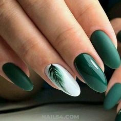 Metallic Green Feather Nail Designs