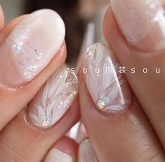 Translucent Feather Nail Designs