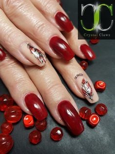 Red Feather Nail Designs