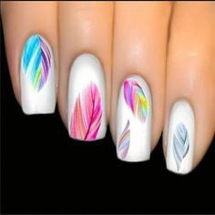 Colorful Feather Nail Designs