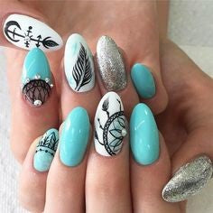 Turquoise Feather Nail Designs