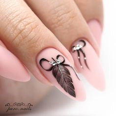 Rhinestone Feather Nail Designs