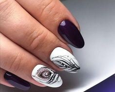 Stiletto Feather Nail Designs