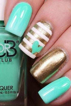 Turquoise and Gold Princess Nail Design