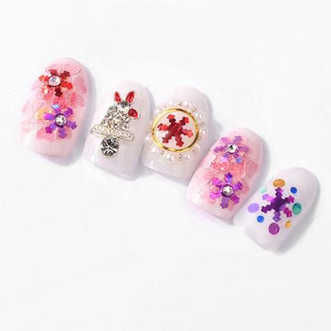 3D Christmas Snow Sequins Nail Metal Stickers Snowflake Nail Decoration