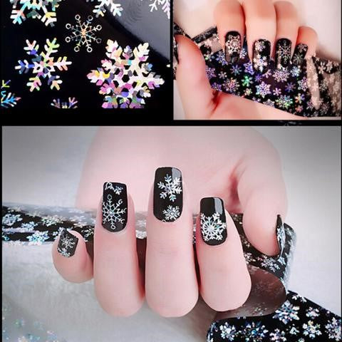 Holographic Christmas Snowflake Nail Art Stickers