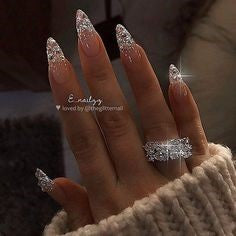 Glitter Diamonds Stiletto Nail Design