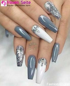 Gray Diamonds Nail Design