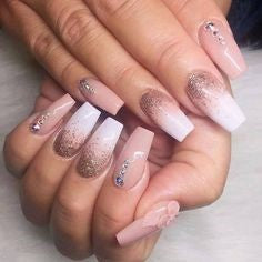 Cute Sequins Diamonds Nail Design