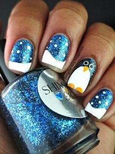 French Penguin Winter Nail Designs