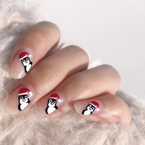 This Penguin Cute Christmas Nail Design