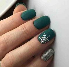 Matte Flower Winter Nail Designs
