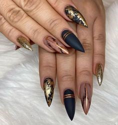 Golden and Black Marble stiletto Nail Designs