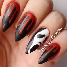 Scream Halloween Nail Design
