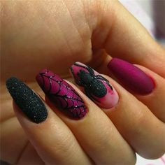 Purple Spider Halloween Nail Design