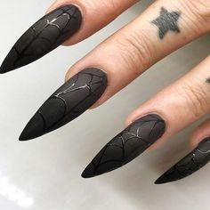 Black Spider Web Halloween Stiletto Nail Design