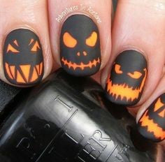 Cool Pumpkin Head Halloween Nail Design
