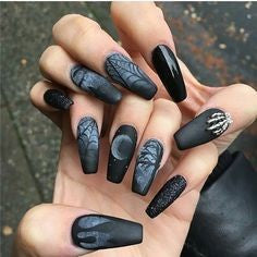 Night Falls Coffin Halloween Nail Design