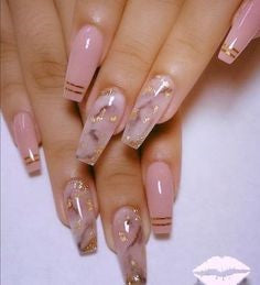 Gold Sequins and Pink Nail Design