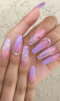 Rhinestone and Sequins Pink Nail Design