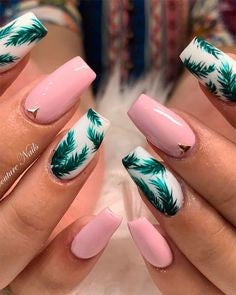 Green Leaves Pink Nail Design