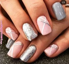 Glitter Sliver and Pink Nail Design