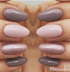 Gray and Pink Almond Nail Design