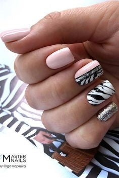 Half Pink and Half Zebra Print Nail Design
