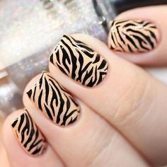 Elegant Nude Zebra Nails With Glitter Sparks