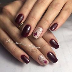 Dark Red Rose Nail Art Design