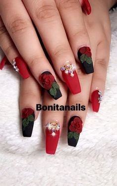3D Stickers Red Rose Nail Art Design
