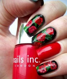 Water Decals Red Rose Nail Art Design