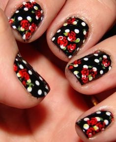 Spot Red Rose Nail Art Design
