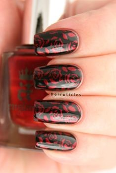 Red Rose Nail Stamping Art Design