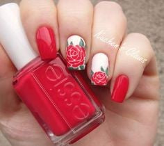 Matte Red Rose Nail Art Design