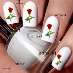 Simple Red Rose Nail Art Design