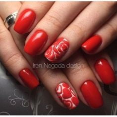 Valentine Red Rose Nail Art Design